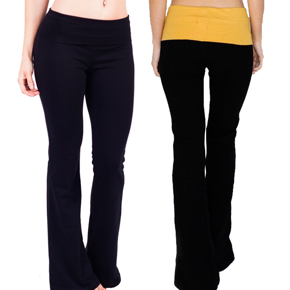 人気Basicsレディースロングヨガパンツwith Colored Fold Over Waist B079THF363 Large|2 Pack: Black & Mustard 2 Pack: Black & Mustard Large
