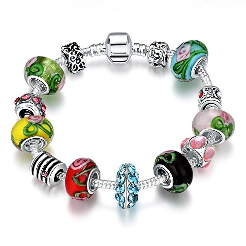 Gorgeous Jewelry Pandora Diamond Accented Colorful Crystal Glass Beaded Creative DIY Bracelet