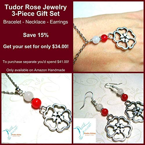 The Original Tudor Rose Necklace Bracelet Earrings Jewelry Set - Red & White Agate Beaded - Creative Artistry by Angie C. Pinkal