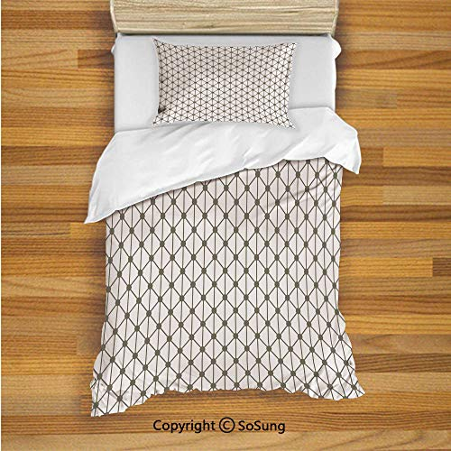 Modern Decor Kids Duvet Cover Set Twin Size, Geometrical Diamonds Square Shaped Lined Crosses with Dots Image 2 Piece Bedding Set with 1 Pillow Sham,Sage Green and White ()