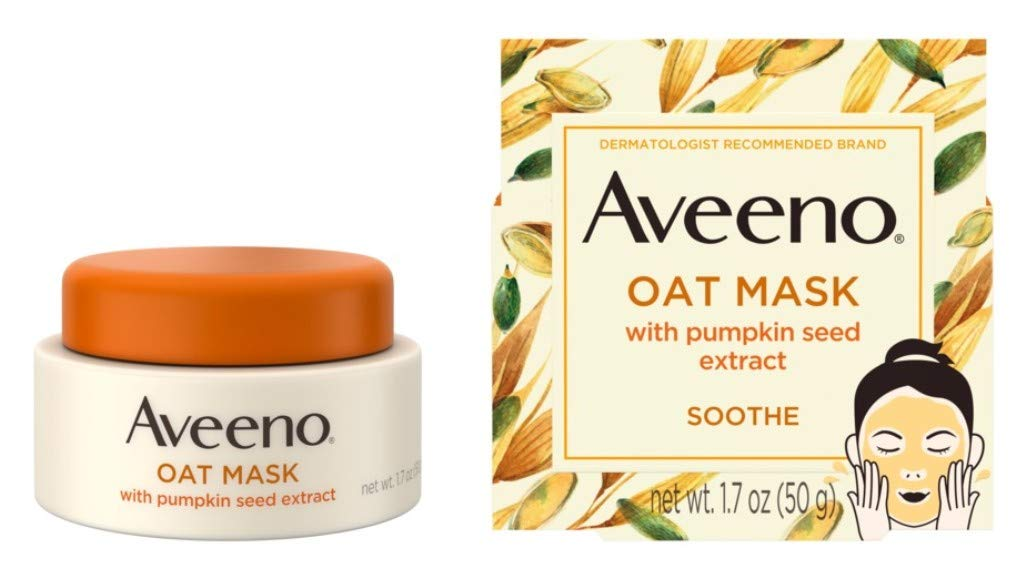 Aveeno Oat Mask With Pumpkin Seed Extract 1.7 Ounce Jar (Pack of 2)
