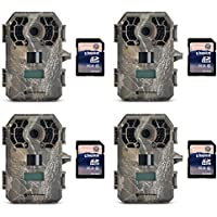 Stealth Cam 10MP Video Infrared Hunting Game Trail Camera, 4 Pack + 8GB SD Cards