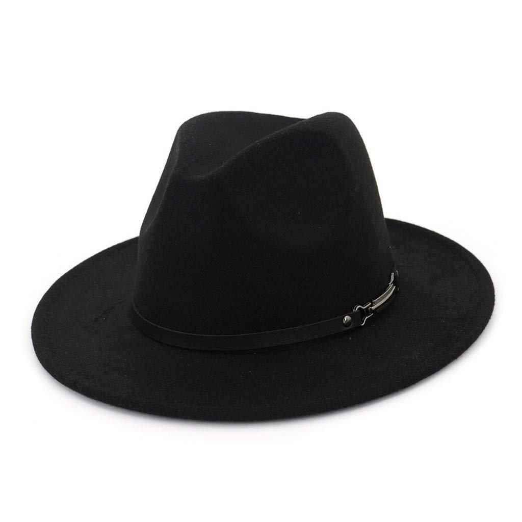 Unisex Vintage Hat Wide Brim with Belt Buckle Adjustable Outbacks Hats Lovers Hat Jazz Hat for Men & Women