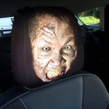 CAR SEAT HEAD REST COVERS 2 PACK ZOMBIE FACE DESIGN MADE IN YORKSHIRE