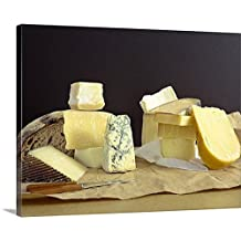 Canvas On Demand Premium Thick-Wrap Canvas Wall Art Print entitled Cheeses and bread on block with knives