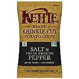 Kettle Brand Potato Chips, Krinkle Cut Salt & Fresh Ground Pepper, 8.5 Ounce (Pack of 12)