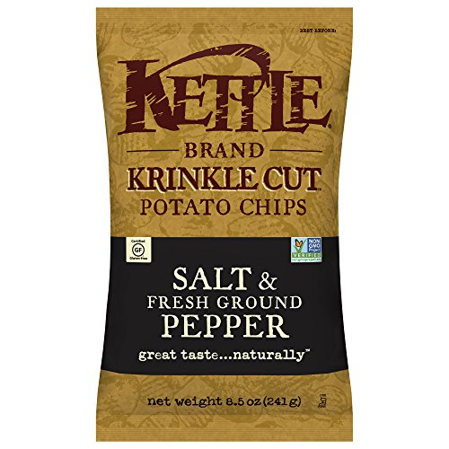 Kettle Brand Potato Chips, Krinkle Cut Salt & Fresh Ground Pepper, 8.5 Ounce