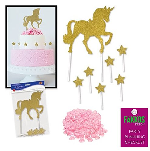 Unicorn Cake Topper Gold Sparkle With Gold Stars & Decorative Pink Polyester Rose Petals For Cake or Table (Stars Sparkle Design)