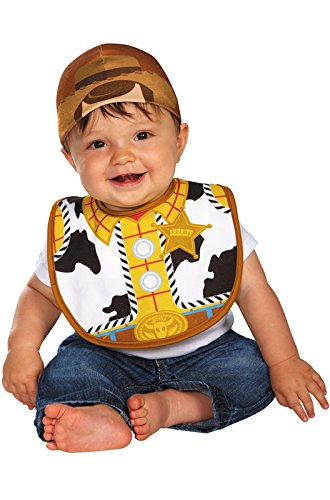 [Disguise Baby's Disney Pixar Toy Story and Beyond Woody Infant Bib and Hat, White/Black/Brown/Yellow, 0-6] (Film And Tv Costume Design)