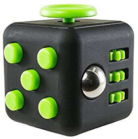 CPEI Anxiety Attention Toy Spinner Fidget Cube for Children and Adults, Green-Black