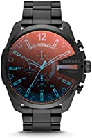 Diesel Men's Mega Chief Quartz Stainless Steel Chronograph Watch, Color: Black (Model: DZ4318)