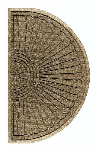 Andersen 2246 Waterhog Eco Grand Premier PET Polyester Fiber Half Oval Entrance Indoor/Outdoor Floor Mat, SBR Rubber Backing, 1.8' Length x 3' Width, 3/8'' Thick, Khaki by The Andersen Company