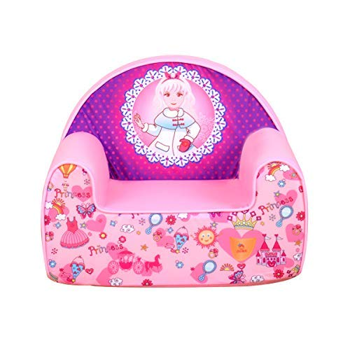 (Babyland Kids Princess Sofa Upholstered Chair Pink with Washable Cover for Kids Ages 1-3)