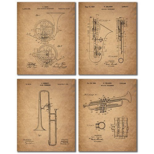 Musical Instruments Patent Prints - Set of 4 Vintage Wall Art Photos - Trombone Trumpet Clarinet French Horn (Instruments Posters)