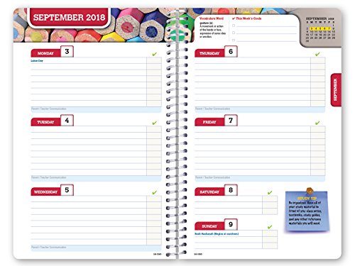 HARDCOVER Dated Middle School or High School Student Planner for Academic Year 2018-2019 (Block Style - 5.5''x8.5'' - Woodgrain Cover) - Bonus Ruler/Bookmark and Planning Stickers by Global Datebooks (Image #4)