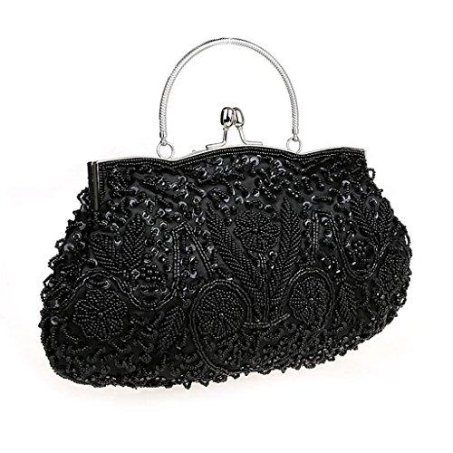 HONGCI Bolso al hombro para mujer - Bolso de Tarde Flores Retro Beaded Bolso de Embrague Bolso Bolsa de Embrague Bolso de Fiesta Boda Negro