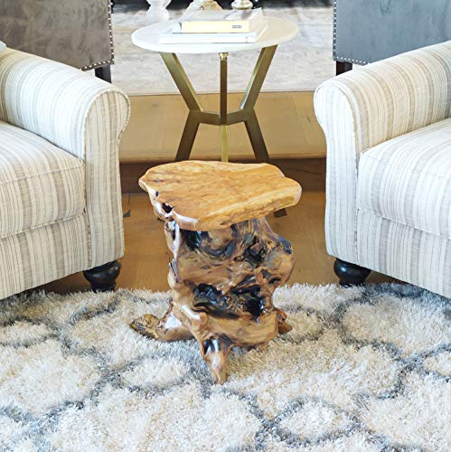 WELLAND Tree Stump Side Table, Live Edge Stool, Natural Edge Wood Side Table, Accent Table, 19