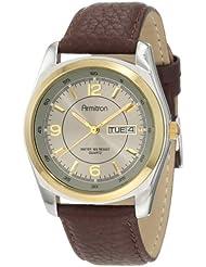 Armitron Mens 20/1925GYBN Round Two-Tone Brown Leather Strap Watch