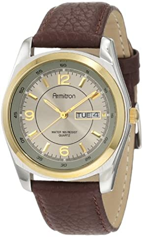 Armitron Men's 20/1925GYBN Round Two-Tone Brown Leather Strap Watch (Leather Round Watch)