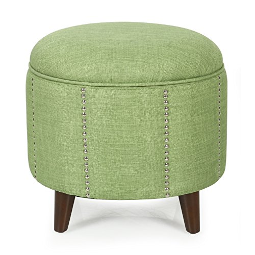 Homebeez Modern Nailhead Trim,Wood Legs,Fabric Storage Ottoman (Green)