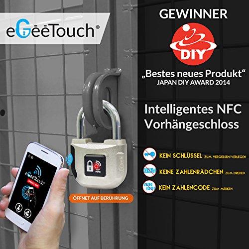 eGeeTouch Intelligentes NFC Vorhängeschloss - elektronisches Smart Lock, Sieger der CES, Zugriff über eigenes NFC-Smartphone (benötigt Android)
