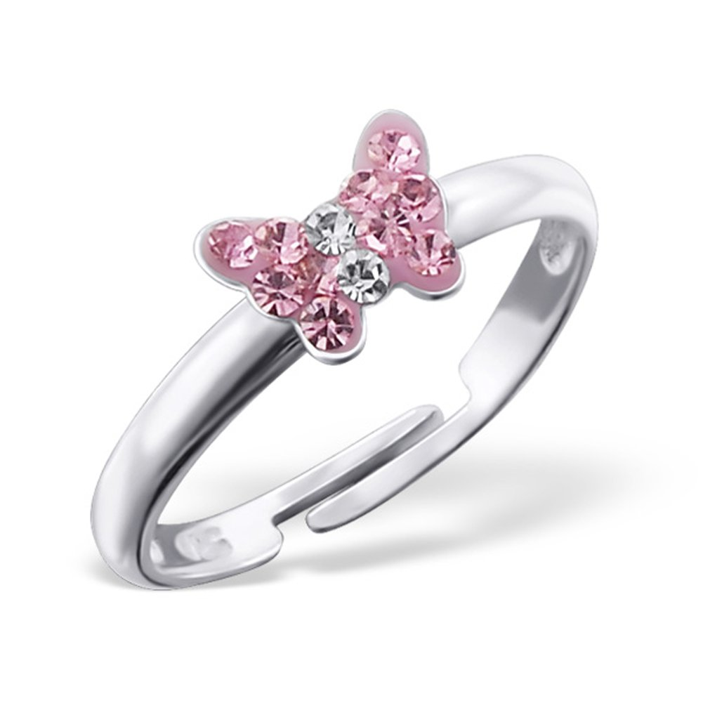 Tiny Butterfly Ring Light Pink Crystals Girls Size Adjustable Sterling Silver 925 (E19434)