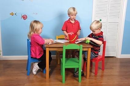 Amazon.com: Tabla niños y 4 Juego de sillas, madera primaria ...