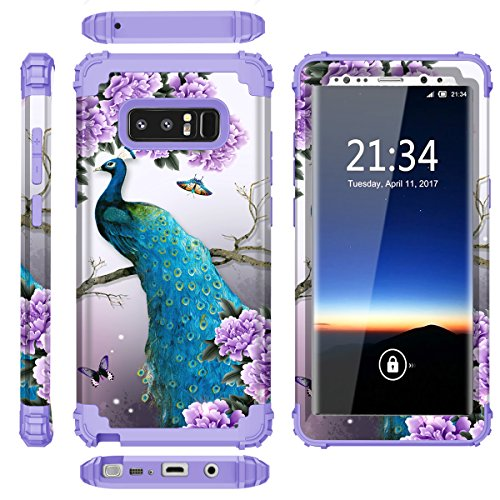 Samsung Galaxy Note 8 case,PIXIU Heavy Duty Protection Shock-Absorption&Anti-Scratch Hybrid Dual-Layer phone cases for Samsung Galaxy Note 8 2017 Realeased (peafowl /Purple) Photo #4