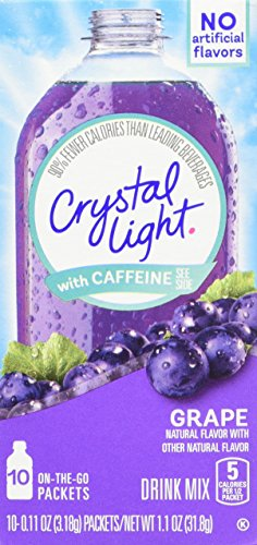 Crystal Light On The Go Energy Grape - Caffeine Energy Releasing, 10-Packet Boxes (Pack of 4) (Punch The Go Light Crystal On Fruit)