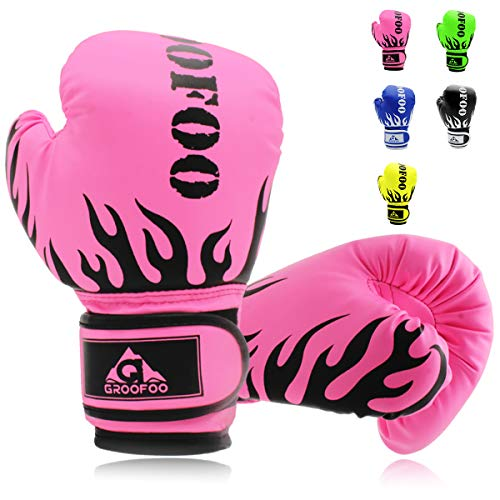 GROOFOO Kids Boxing Gloves for Child Punching Bag Sparring Training, 4oz 6oz fit 3 to 14 Years (Best Boxing Gloves For Kids)