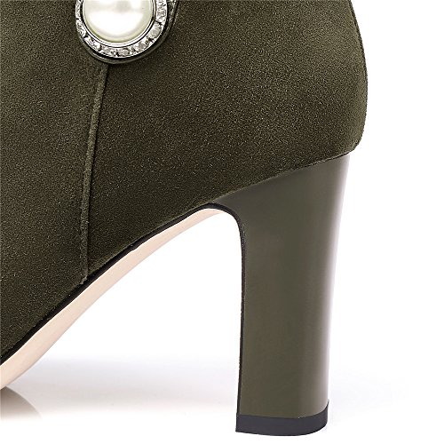 Nine Seven Suede Leather Womens Pointy Toe High Chunky Heel Pearl Handmade Cute Dress Ankle Booties Army Green 5G74uJBzg