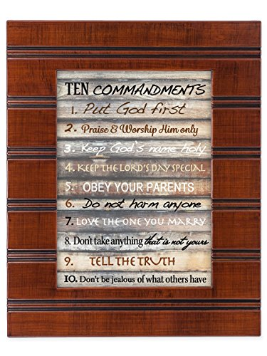 Ten Commandments Plaque (Contemporary Ten Commandments Wood Finish 8 x 10 Framed Wall Art Plaque)