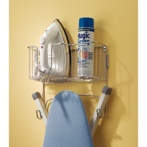 Mdesign Ironing Board Holder With Storage Basket For