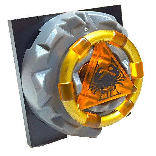 Lego Parts: Atlantis Portal Treasure Key Bundle (1) Gold Band and Crab Pattern Treasure Key (1) Locking 4 x 4 Square Base Turntable with Pin (1) Jagged Edge Key Holder