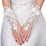Elegant Lady Formal Banquet Party Bride Pierced Lace Wedding Gloves Bridal Gloves, NO.27