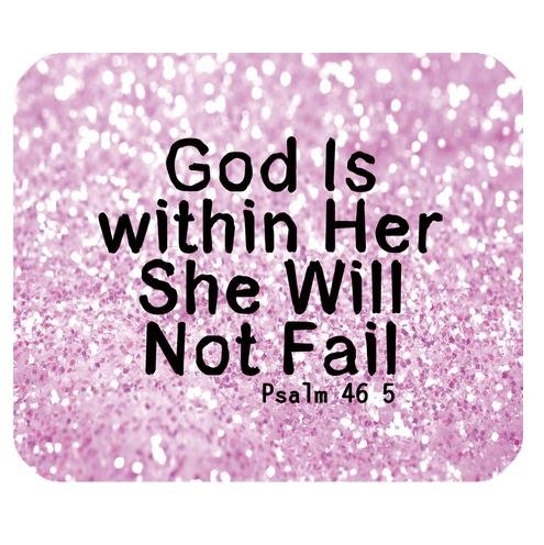 Generic Mouse Pad Christian Bible Verse Quotes God Is within Her, She Will Not Fail Psalm 46:5 With Pink Sparkles Glitter Background Design Cloth Cover Rectangle Gaming Mouse Pad Mat 9.84×7.87 Inches