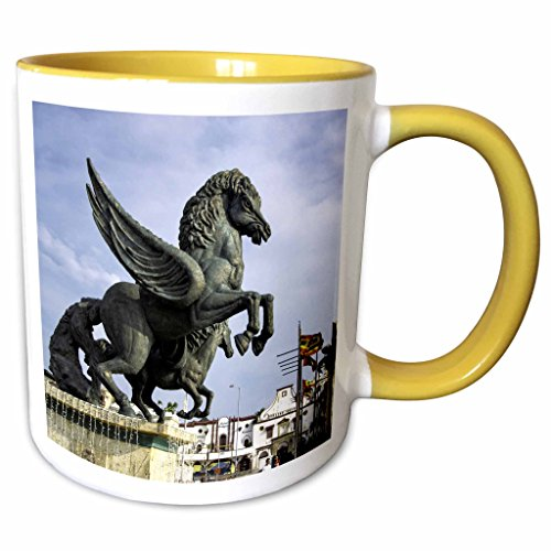 3dRose Danita Delimont - statues - Equine sculptures link Getsemani with El Centro districts, Colombia. - 11oz Two-Tone Yellow Mug - Outlets El Centro