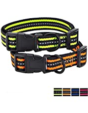 """Mile High Life Night Reflective Double Bands Nylon Dog Collar (2 Pack Orange/Lime Green, Small Neck 11""""-15"""" -20 lb)"""