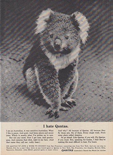 I hate Qantas. Qantas Airlines famous Koala spokesanimal ad 1961