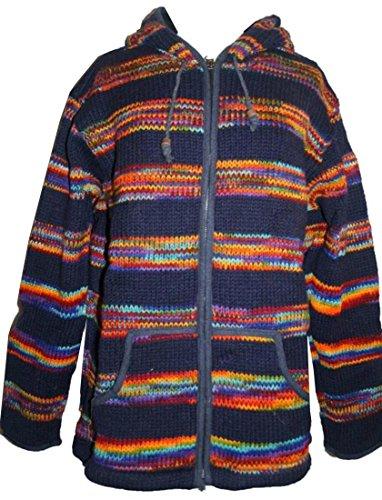WJ 11 Agan Traders Wool Unisex Knit Jacket Sweater (L, Blue Multi 2)
