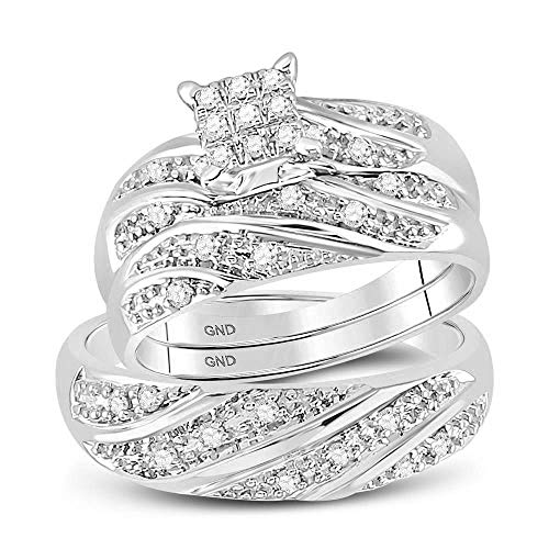 Jewel Tie Sizes - L = 9, M = 10.5-14k White Gold Trio Mens & Womens Round Diamond Cluster Bridal Engagement Ring Wedding Band Set (1/4 Cttw.)