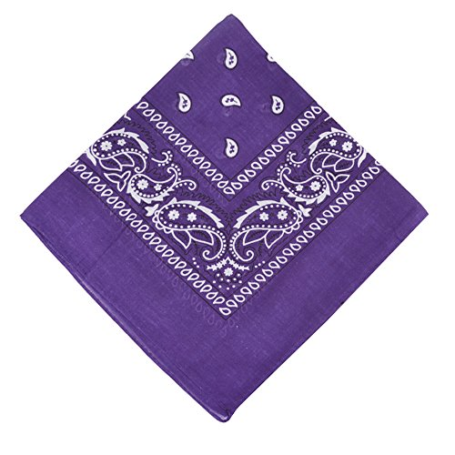6 Pack Paisley Bandanas Headbands for Unisex Kids and Adults,Deep Purple