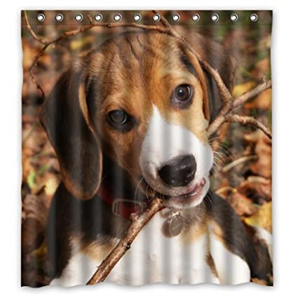 "66""(w) x 72""(h) Cute Beagle Puppy Theme Print 100% Polyester Bathroom Shower Curtain Shower Rings Included"