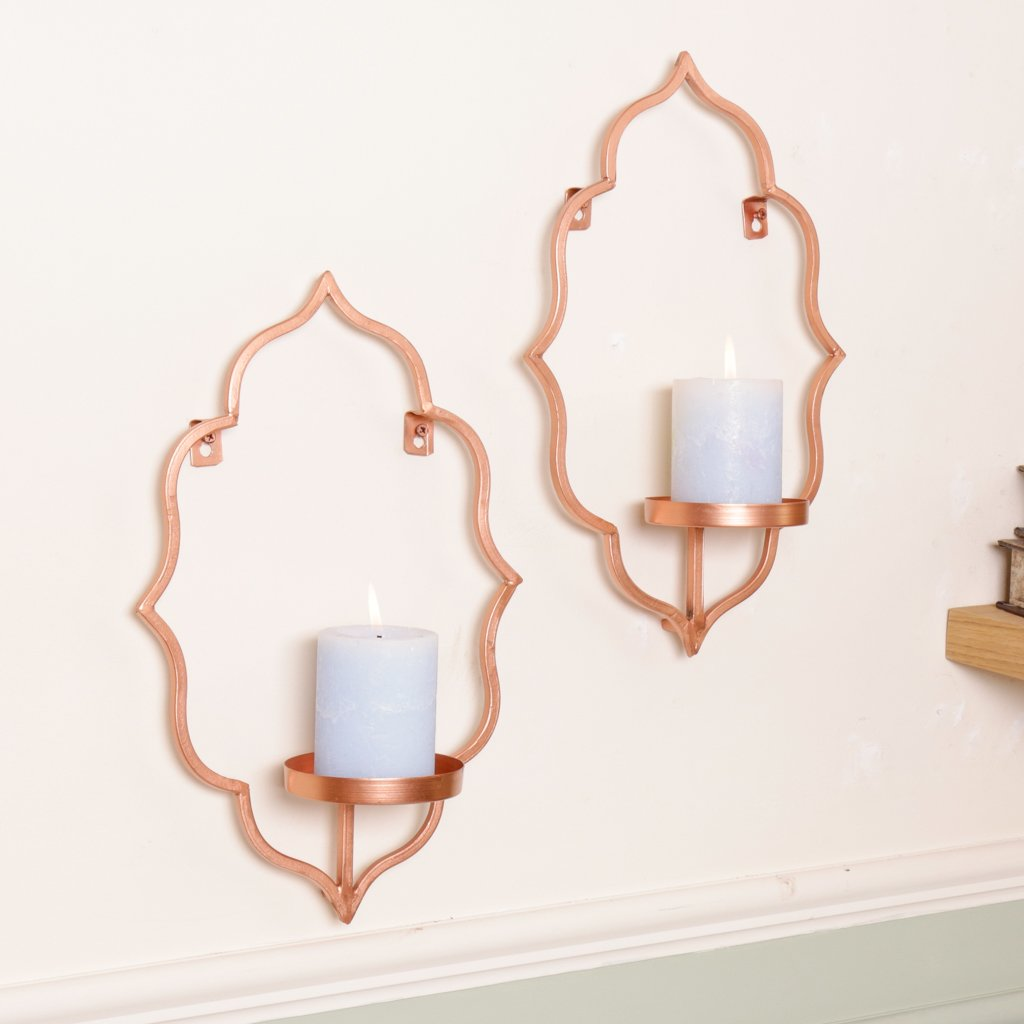 Copper Wall Candle Sconce, Fabulous Style for your home, Decorative and Beautiful. H 40 x W 25 x D 12 cm