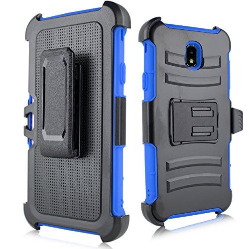 (for Samsung Galaxy J7 2018 Refine, J7 Star, Crown, Aura, Aero, Eon, J7 Top (SM- J737) Swivel Belt Clip Holster Heavy Duty Dual Armor Hybrid Defender Case [with Kickstand & Rugged Grip] (Blue))