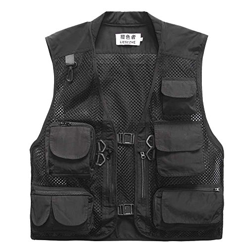 Men Mesh Breathable Multi-Pocket Vest Outdoor Travelers Fly Fishing Photography (Black, XL)