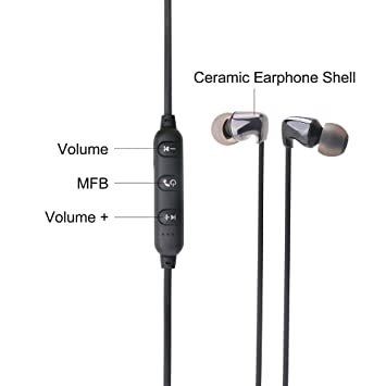 Headset Deportes In-Ear, Cerámica Auricular Bluetooth Deportes Auriculares Inalámbricos Estéreo iPhone Android iOS, Teléfono Universal, Auriculares de ...