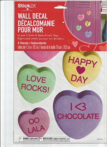 CANDY HEARTS WALL DECALS BY AMERICAN GREETINGS AND STICK2IT (6 DECALS)