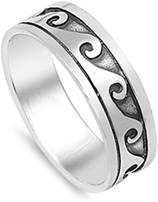 Princess Kylie Oxidized 925 Sterling Silver Ocean Waves Ring