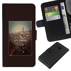 KLONGSHOP // Tirón de la caja Cartera de cuero con ranuras para tarjetas - Londres Inglaterra Cita Marrón texto - HTC One M7 //